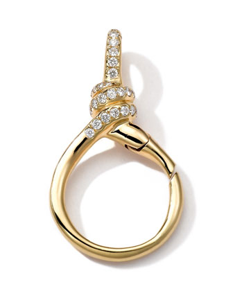 18k Gold Pave Diamond Twisted Wire Charm Holder