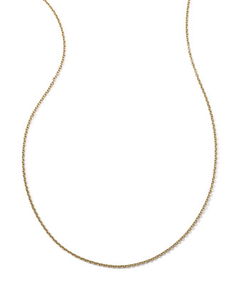 18k Yellow Gold Thin Charm Chain Necklace, 36