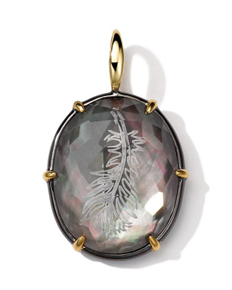 Black Sterling Silver and 18k Gold Intaglio Feather Charm, Black Shell ...