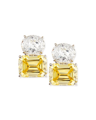 White Oval & Canary Emerald-Cut Stud Earrings