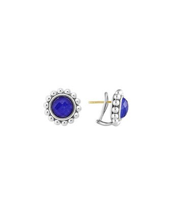 Silver Maya Lapis Large Caviar Stud Earrings
