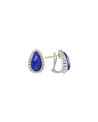 Silver Maya Lapis Half-Hoop Stud Earrings