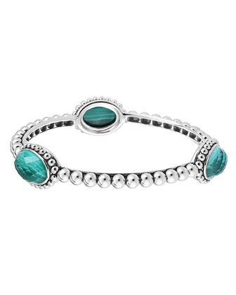 Silver Beaded Maya Malachite Medium Bangle