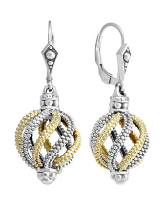 Silver & 18k Gold Soiree Circular Swirl Drop Earrings