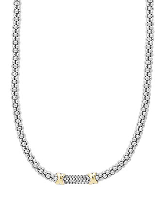 Silver & 18k Diamond Lux Beaded Necklace, 16