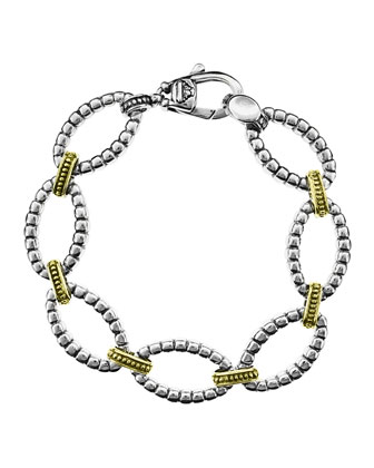 Silver & 18k Gold Caviar Fluted Link Bracelet