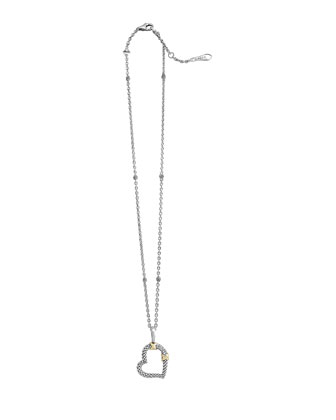 Silver & 18k Diamond Lux Heart Pendant Necklace