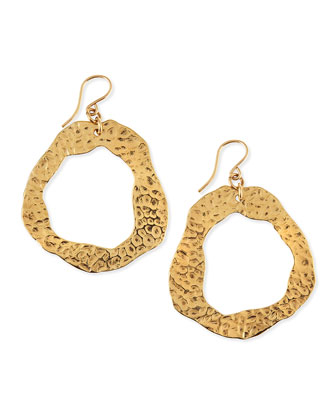 Hammered Gold-Dipped Hoop Earrings