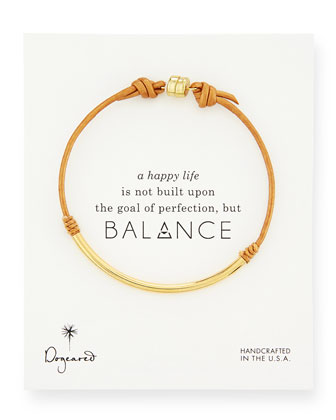 Balance Tube Leather Cord Bracelet, Honey