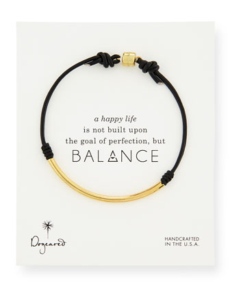 Balance Tube Leather Cord Bracelet, Black