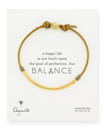 Balance Tube Leather Cord Bracelet, Moss