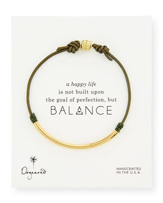 Balance Tube Leather Cord Bracelet, Evergreen