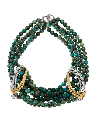Feathered Tressage Chrysocolla Necklace