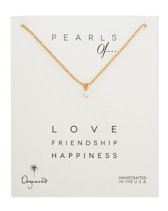 Love Gold-Dipped Sparkle Chain Pearl Pendant Necklace
