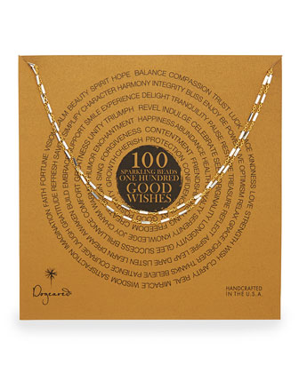 100 Good Wishes Gold Vermeil Bar Necklace, 33