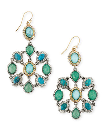 Chrysocolla & Crystal Mosaic Dangle Earrings
