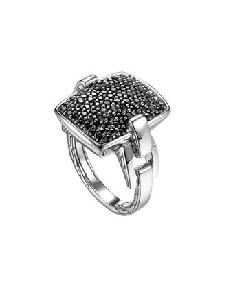 Classic Chain Silver Lava Black Sapphire Ring, Size 7