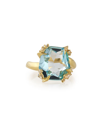 Sandy Beach 18k Gold Blue Topaz Ring with Diamonds