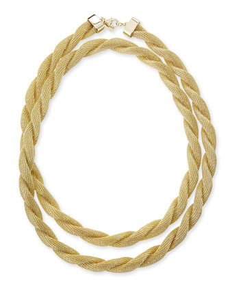 Florence Twisted Mesh Chain Necklace, Golden