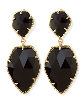 Selma Faceted Clip-On Earrings, Black