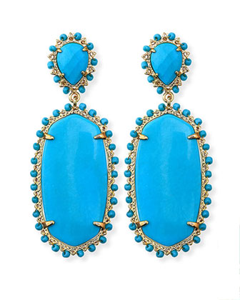 Parsons Clip-On Earrings, Turquoise
