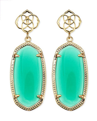 Debbie Glass Drop Earrings, Green