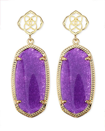 Debbie Glass Drop Earrings, Purple
