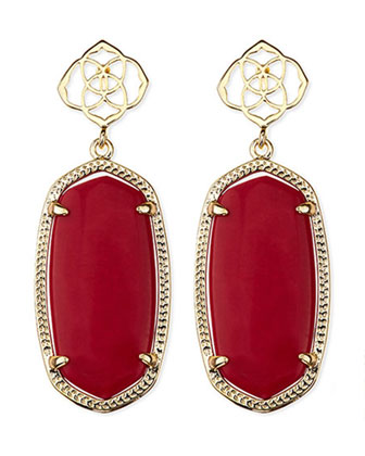 Debbie Glass Drop Earrings, Red