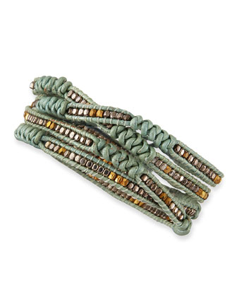 Beaded Leather Wrap Bracelet, Mint