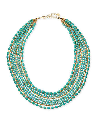 Multi-Strand Beaded Statement Necklace, Turquoise/Golden