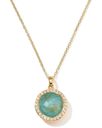 18k Gold Rock Candy Mini Lollipop Pendant Necklace, Quartz/Turquoise/Diamonds