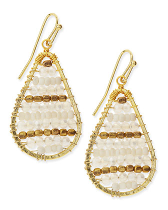Golden Beaded Dangle Earrings