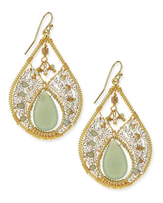 Aventurine Beaded Teardrop Earrings