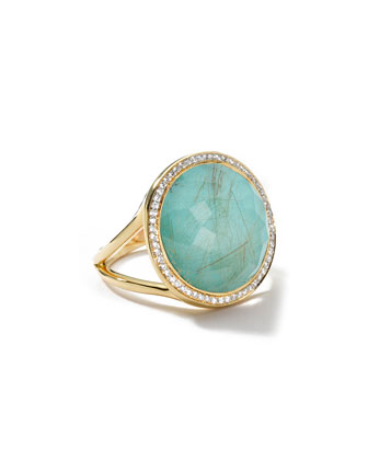 18k Gold Rock Candy Lollipop Ring, Quartz/Turquoise/Diamonds