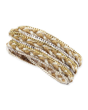 Braided Rope & Box Chain Wrap Bracelet