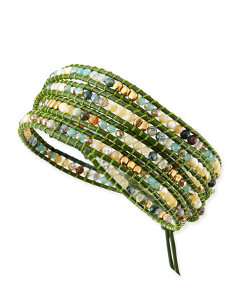 Mother of Pearl & Jasper Beaded Wrap Bracelet, Green