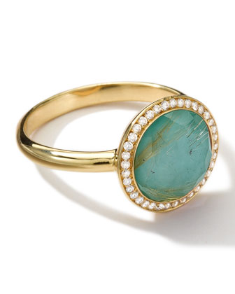 18k Gold Rock Candy Lollitini Ring, Quartz/Turquoise/Diamonds