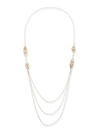 Chevron Beaded Layered Chain Necklace