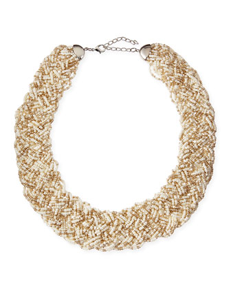 Woven Beaded Statement Necklace