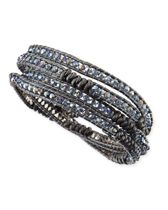 Knotted Leather Beaded Wrap Bracelet, Steel