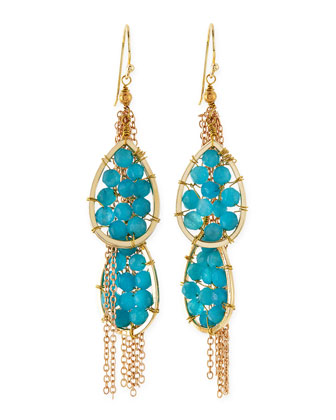 Quartz Beaded Chain Drop Earrings, Turquoise