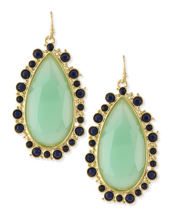 Faceted Crystal Teardrop Earrings, Mint/Navy