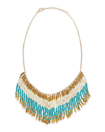 Fringe Beaded Bib Necklace, Turquoise/White/Golden