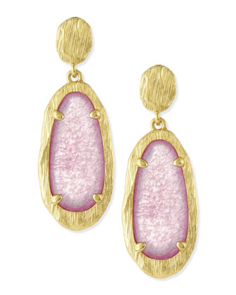 Brushed Golden Oval Drop Earring, Pink