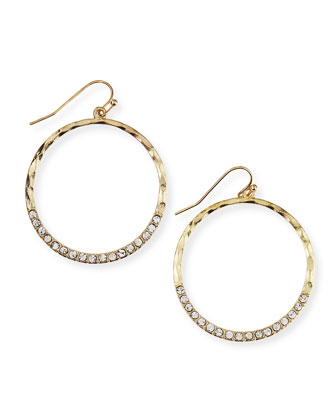 Hammered Rhinestone Circle Earrings