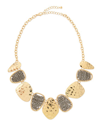 Hammered & Beaded Bib Necklace
