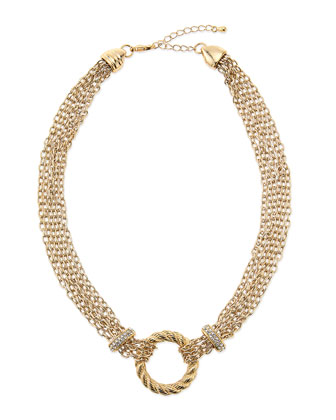 Multi-Strand Rope Circle & Crystal Rondelle Necklace