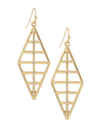 Ribbed Diamond Shape Dangle Earring