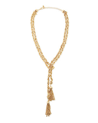 Golden Double Chain & Tassel Necklace