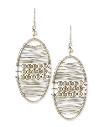 Silvertone Beaded Wire Wrap Earrings